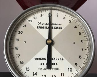 Vintage American Family Scale, 25 lb Household Scale, Red & White Scale, Vintage Scale, Made in USA
