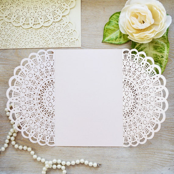 DIY Laser Cut Doily Gatefold Invitation - More Colors Available - Laser Cut Invites for Wedding, Sweet Sixteen, Quinceanera, Birthday