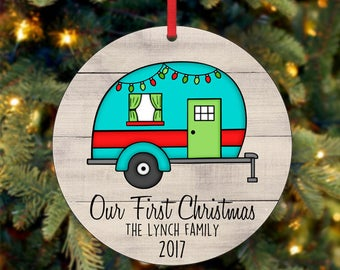 Our First Christmas Ornament, RV Ornament, Family Christmas Ornament, Custom Ornament, 2017 Ornament, Rustic Wood Ornament (0026)