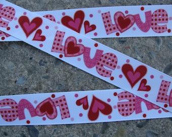 """Valentine Ribbon Love Ribbon Hearts Ribbon Printed Ribbon 7/8"""" 3 yards Hair bow ribbon"""