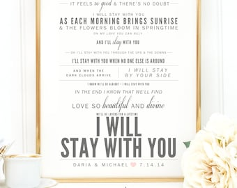 "Gray & Pink Blush, John Legend ""I Will Stay With You"" - Valentine's, Wedding Gift, Paper Anniversary Gift, Song Lyrics, Art Print"