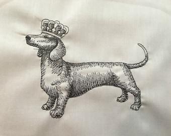 Dachshund  sausage Dog Machine Embroidered  craft quilt panel