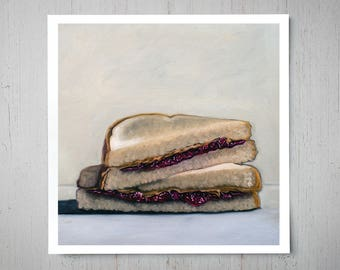 Peanut Butter and Jelly Sandwich - Fine Kitchen Art Oil Painting Archival Giclee Print Decor by Artist Lauren Pretorius