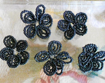 1950's Black Hand Beaded Flowers