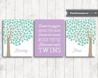Twin Nursery Art - Purple and Mint - Set of 3 - Baby Girl or Boy Art - Personalized Baby Shower Gift -Twin Quote - Tree Art Canvas or Print