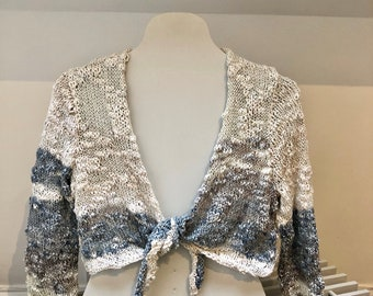 Hand Knitted Bolero Cardigan Cover Up Blue Cream