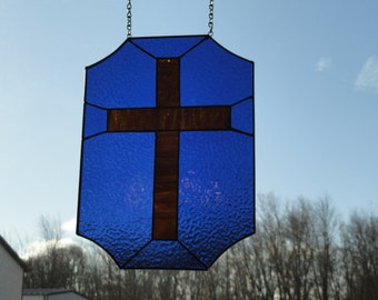 Golden Cross stain glass