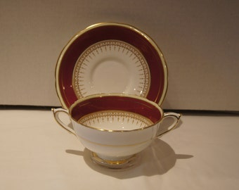 Paragon Athene Burgundy Encrusted Band Cream Soup Bowl with Saucer a very hard to find set