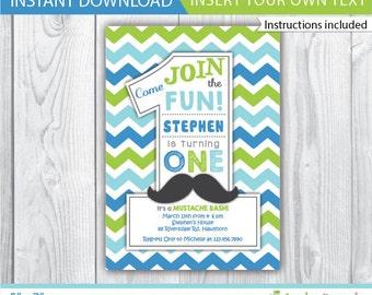 mustache invitation / little man mustache invitation / mustache invite /  1st birthday mustache invitation / mustache  INSTANT DOWNLOAD