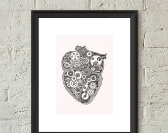 Heart Anatomical Illustration Poster Print Hand Drawn Pen and Ink Giclee Heart Gears Art Home Dorm Room Office Black and White Wall Art