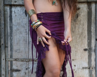 Sita Skirt (Purple) - Festival Clothing Bohemian Gypsy Hippie Fairy Jungle Wild Sexy Adjustable Festival Boho Nomadic Ethnic Bohemian