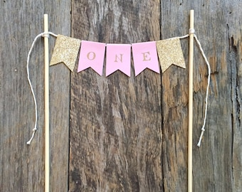 Cake Bunting topper 'One' - Pink