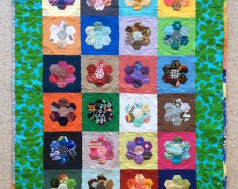 Happy Flowers, Quilt art, quilted wall hanging, home decor, fabric art, hexagons
