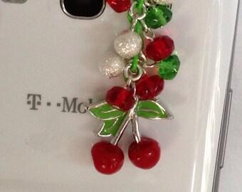 Cherry cell phone charm, phone charm, dust plug charm, ear plug charm, iPhone, iPad, galaxy plug charm,