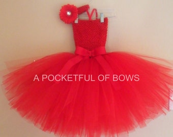 Red Tutu Dress, Red Tulle Dress, Toddler Red Tutu Dress