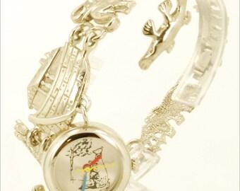 Japanese-movement quartz charm bracelet vintage watch, silver-tone & stainless steel round case, Noah's Arc themed charms