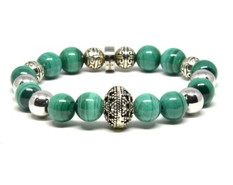 Malachite with a Touch of Silver Stretch Bracelet