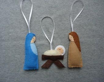 Nativity Felt Ornaments with Mary, Joseph and Baby Jesus