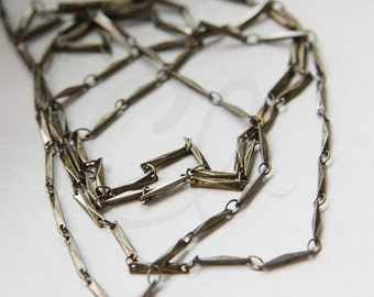 One Foot Oxidized Brass Hand Linked Chain- Cut Rectangle 11x2.2mm (A125-02)