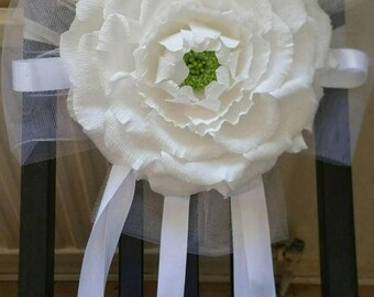 Set of 10 Giant peonies chair cover decor, Gigant flower chair cover, Wedding 3 D flower chair, giant paper peony