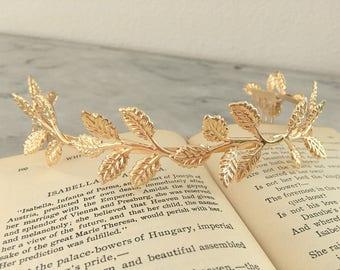 Gold Leaf Crown.Gold Leaf Tiara.Gold Leaf Bridal headpiece.Leaf fascinator.Gold Leaf hair accessory.wedding hair piece.Grecian tiara.Boho