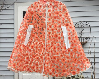 Vintage 1960s mary quant  flower power clear vinyl raincoat poncho cape twiggy go go MOD