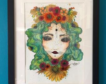 Eden mixed media original-The Freak Boutique Art