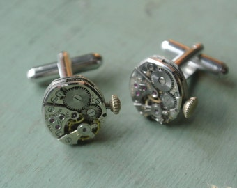Steampunk Watch Movement Cuff Links, Authentic old Movement, Upcycled Gears, One of a Kind, Eclectic, Great Gift for Him By UPcycled Works