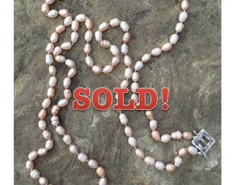 Champagne Freshwater Pearl Hand-Knotted Necklace