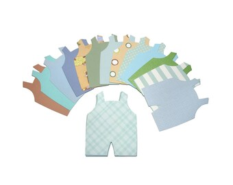 Baby Boy Overalls Die Cuts - 20 Baby Boy Card-Making Supplies - Blue Green Tan Cardstock Jumpers - Die-cuts for Papercrafting & Scrapbooking