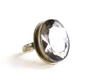 Vintage Sterling Silver Smokey Gray Quartz Ring - Bezel Set - Oval Faceted Quartz Topaz Solitaire -  Size 8.5 - ESTATE
