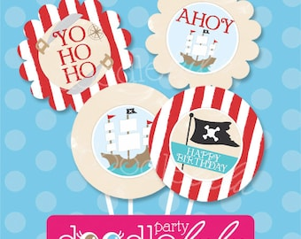 Pirate Birthday Party Circles for Cupcake Toppers - Boy Birthday Party - PRINTABLE, INSTANT DOWNLOAD