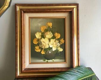 vintage framed painting yellow and orange  flowers vase still life