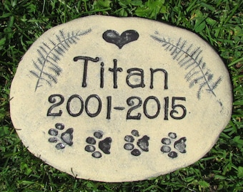 """Personalized Custom pet memorial stone. Outdoor grave marker with inscription. Name, Heart, Ferns, Paw prints. Frost Resistant Brick 6x8"""""""