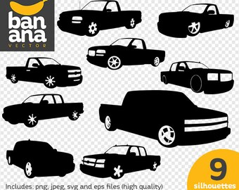 SALE Sierra Truck Silhouettes png jpg svg eps files high resolution BV-VE-0016