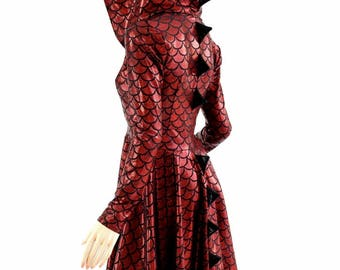 Red Dragon Scale Long Sleeve Hoodie Skater Dress with Dragon Tail Hemline, Black Mystique Spikes & Hood Liner 154534