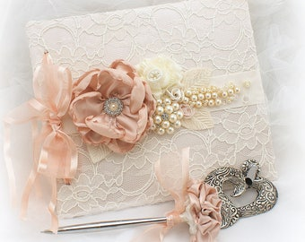 Blush Ivory Lace Wedding Guest Book,Pink Ivory Wedding Guestbook,Signature Book,Blank Pages Guest Book,Guest Book with Pearls,Custom Order