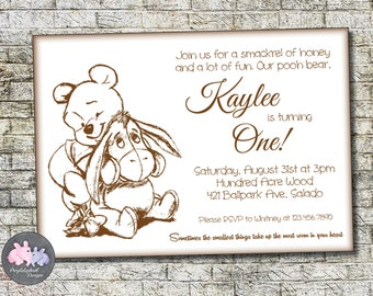 Winnie the pooh birthday pooh and friends holding balloons winnie the pooh birthday invitation pooh bear birthday invitation first birthday or second birthday filmwisefo