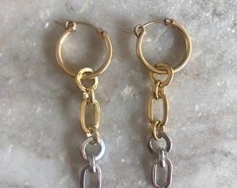 Intermix earrings, gold hoop earrings, gold hoops, mixed metal earring, gold earrings, silver earrings, earrings, gift for her, gift,earring