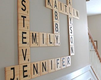 "CARVED Scrabble Tiles Wall Art 5.5"", Wall letters, family, anniversary, scrabble wall art, family room decor, home decor scrabble letters"