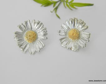 Real Chamomile, Organic Earrings, Sterling Silver 925, Recycled Silver, Eco Friendly, Real Flower, Εlectroplating, Handcraft, Botanic Nature
