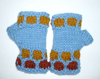 Unique Fingerless  gloves hand knit. M size. Super bulky soft  wool. Bright blue, caramel, butterscotch colors. Hand warmers. Ready to ship.