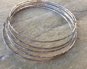 One Silver Stacking Bangle, Silver Hammered Bangle, Simple Silver Bangle, 1.3mm bangle,Asheville NC Artist, 925 bangle, thin stacking bangle
