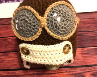 Crochet Newborn Aviator Earflap Hat