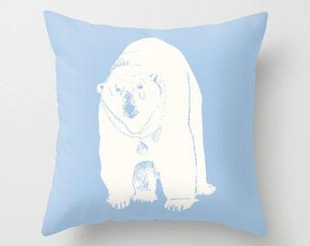 Pastel Blue Polar Bear Pillow Cover, animal pillow, blue pillow, bear decor, nursery pillow, winter rustic decor, 30 colors, c pillow