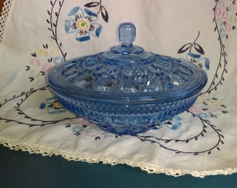 1970s Windsor Candy Dish w/Cover in Aegean Blue by Federal Glass Co.