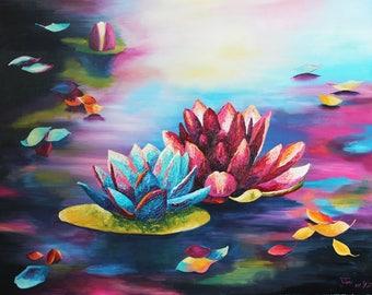 Lotus oil painting Lotus flower oil paintings Oil painting lotus pond  Lily pads Original impressionistic oil painting Oil painting of lotus
