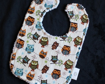 White Hooty Hoot Owls Chenille Boutique Bib