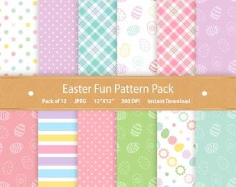 Easter Digital Paper Pack Easter Paper Easter Scrapbook Digital Scrapbook Paper Printable Easter Patterns Easter Egg Commercial Use Blue