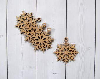 set of wooden snowflakes 4 pieces christmas ornaments wood christmas decorations laser cut snowflake wooden snowflake ornament - Wooden Laser Cut Christmas Decorations